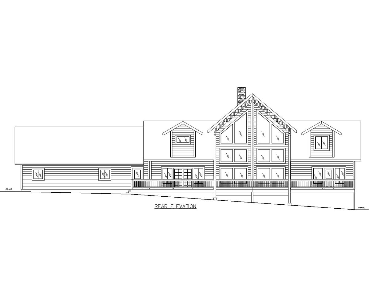 Ranch Traditional Rear Elevation of Plan 85128