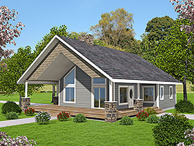 Cabin House Plan 85129 with 2 Beds, 2 Baths Elevation