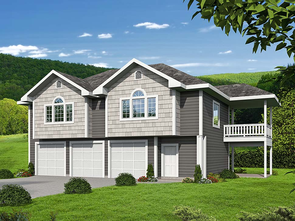 Traditional 3 Car Garage Apartment Plan 85130 with 2 Beds, 2 Baths Elevation