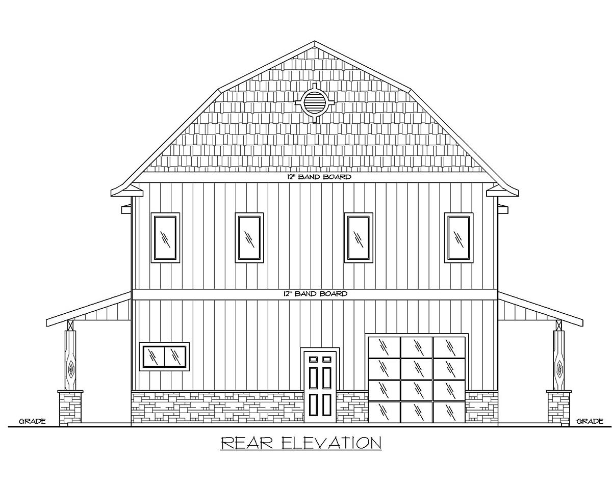 Country Rear Elevation of Plan 85133