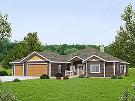 Traditional , Ranch House Plan 85136 with 3 Beds, 3 Baths, 2 Car Garage Elevation