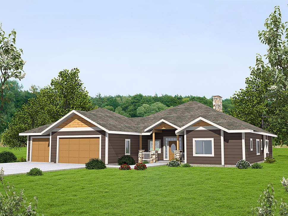Ranch, Traditional House Plan 85136 with 3 Beds, 3 Baths, 2 Car Garage Elevation