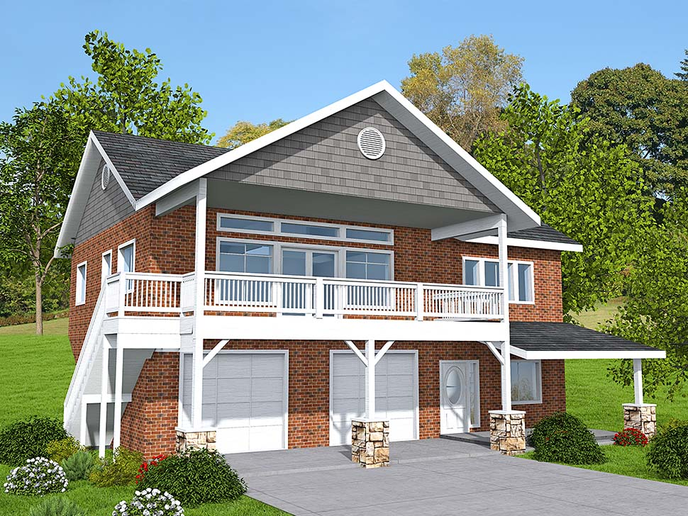 Traditional 2 Car Garage Apartment Plan 85137 with 2 Beds, 3 Baths Elevation