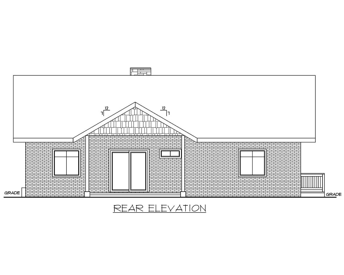 Traditional 2 Car Garage Apartment Plan 85137 with 2 Beds, 3 Baths Rear Elevation