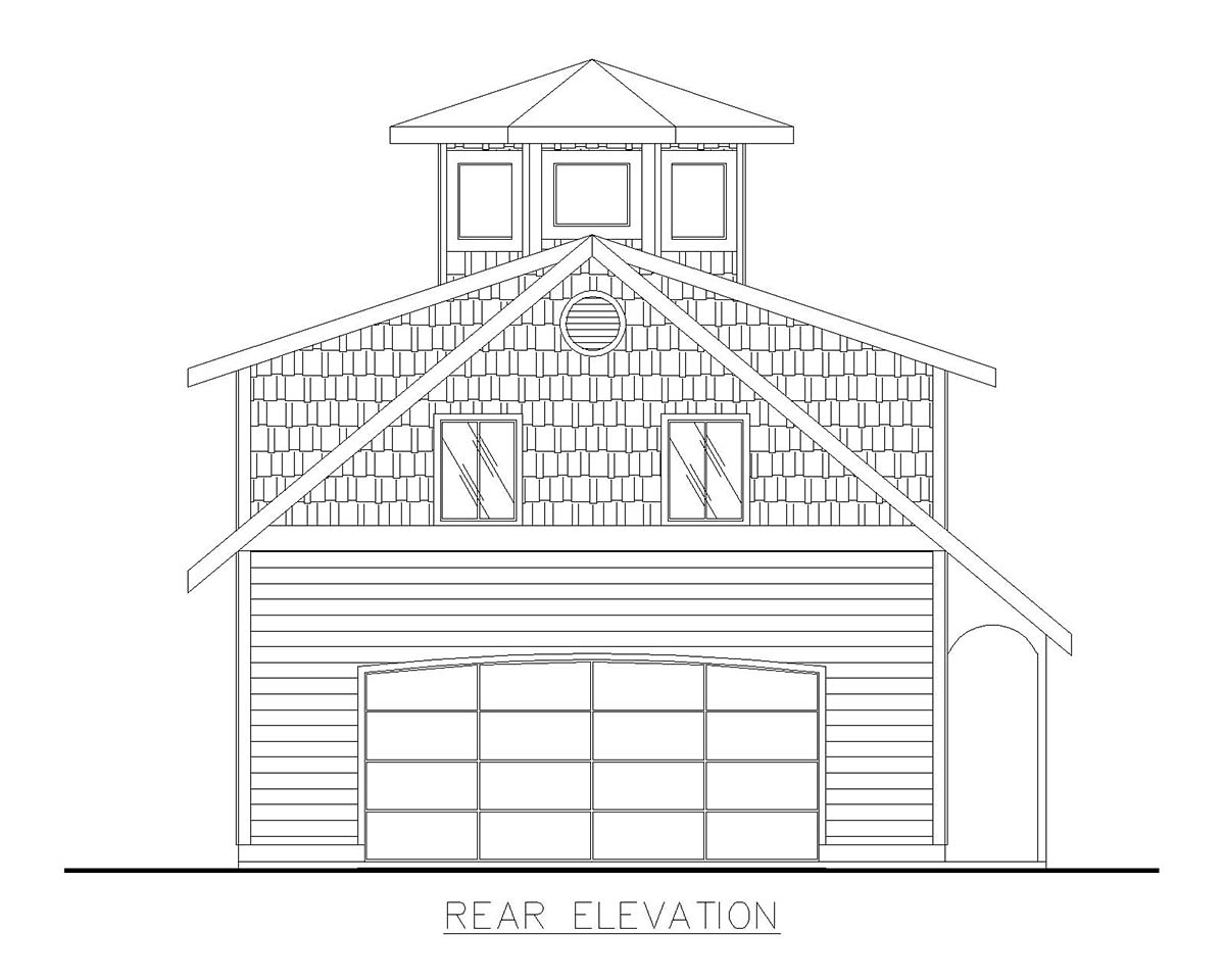 Country 1 Car Garage Plan 85139 Rear Elevation