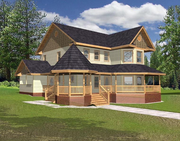 Country, Farmhouse, Victorian House Plan 85200 with 3 Beds, 3 Baths, 2 Car Garage Elevation