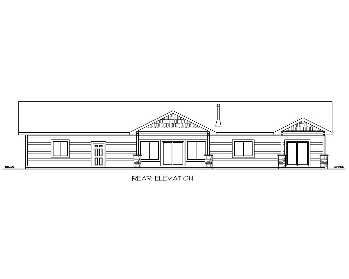 Craftsman Ranch Traditional Rear Elevation of Plan 85210