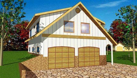4 Car Garage Apartment Plan 85211 with 2 Beds, 1 Baths Elevation