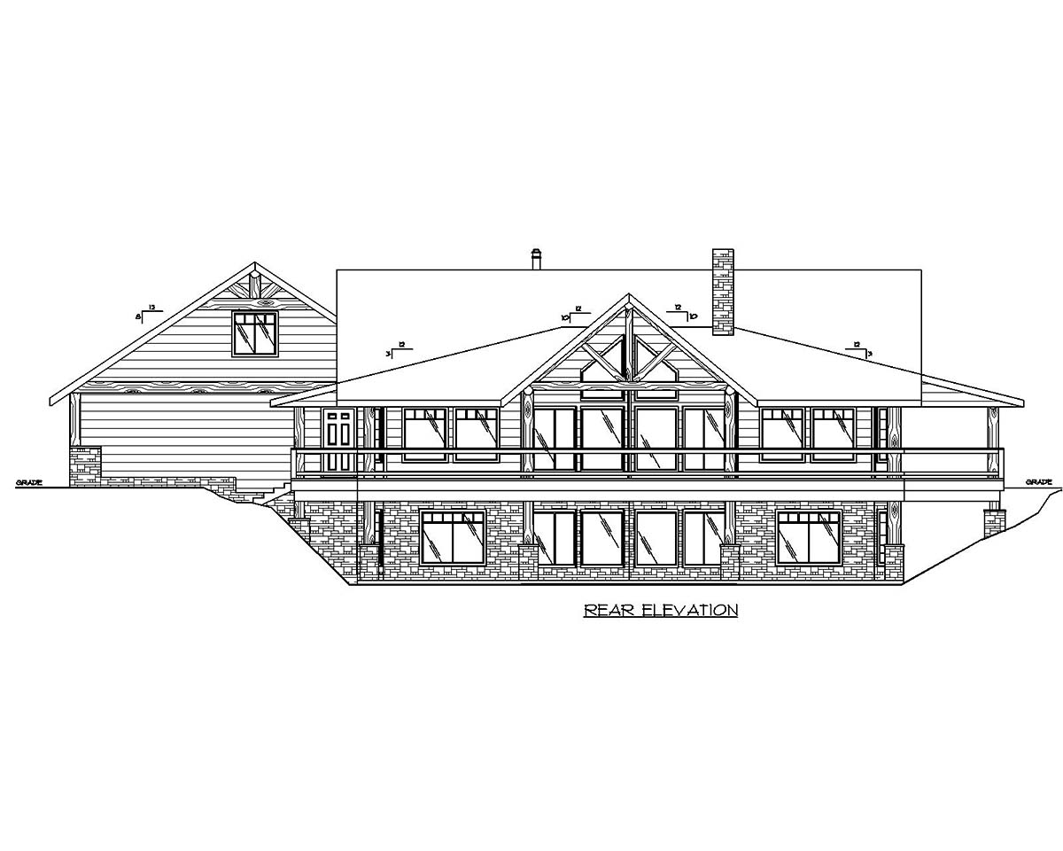 Craftsman House Plan 85212 with 2 Beds, 3 Baths, 3 Car Garage Rear Elevation