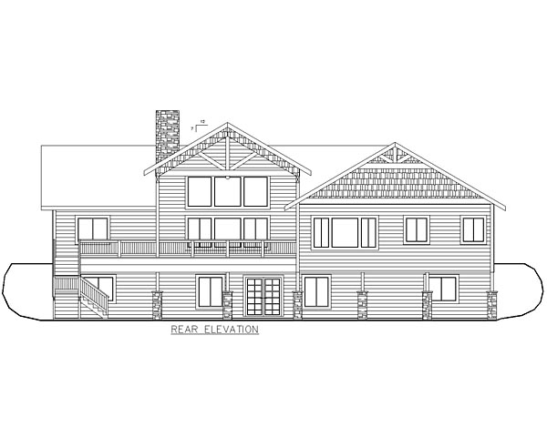 Craftsman Traditional Tudor House Plan 85215 Rear Elevation