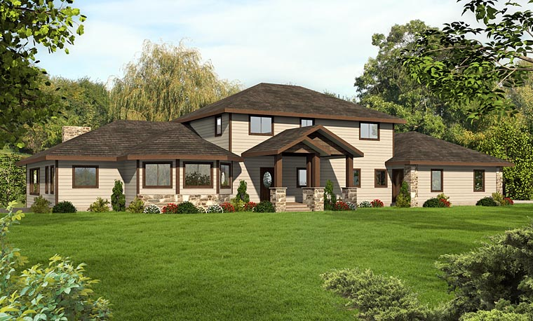 House Plan 85217 | Contemporary Southwest Style Plan with 3871 Sq Ft, 3 Bedrooms, 3 Bathrooms, 3 Car Garage Elevation