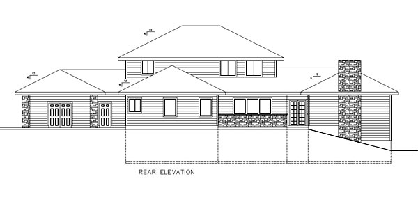 House Plan 85217 | Contemporary Southwest Style Plan with 3871 Sq Ft, 3 Bedrooms, 3 Bathrooms, 3 Car Garage Rear Elevation