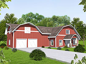 Country , Farmhouse House Plan 85221 with 4 Beds, 3 Baths, 2 Car Garage Elevation