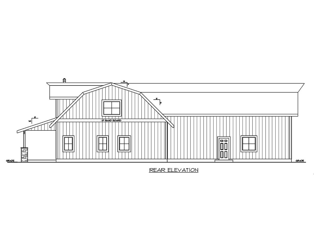 Country , Farmhouse House Plan 85221 with 4 Beds, 3 Baths, 2 Car Garage Rear Elevation