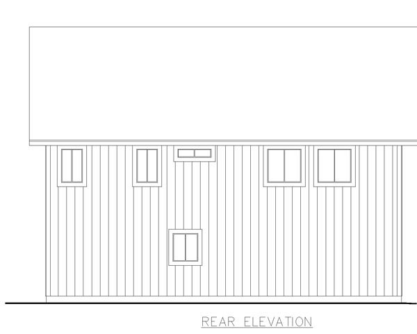 Traditional , Rear Elevation of Plan 85223