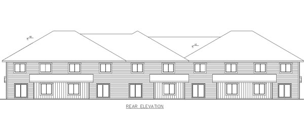 Country Craftsman Tudor Multi-Family Plan 85233 Rear Elevation
