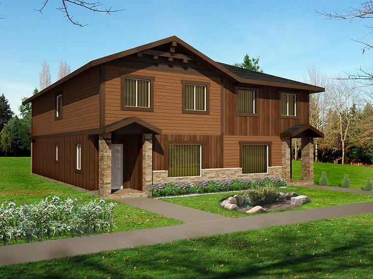 Craftsman Traditional Tudor Multi-Family Plan 85234 Elevation