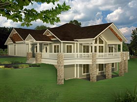 Bungalow , Contemporary , Craftsman , Traditional House Plan 85235 with 5 Beds, 4 Baths, 3 Car Garage Elevation