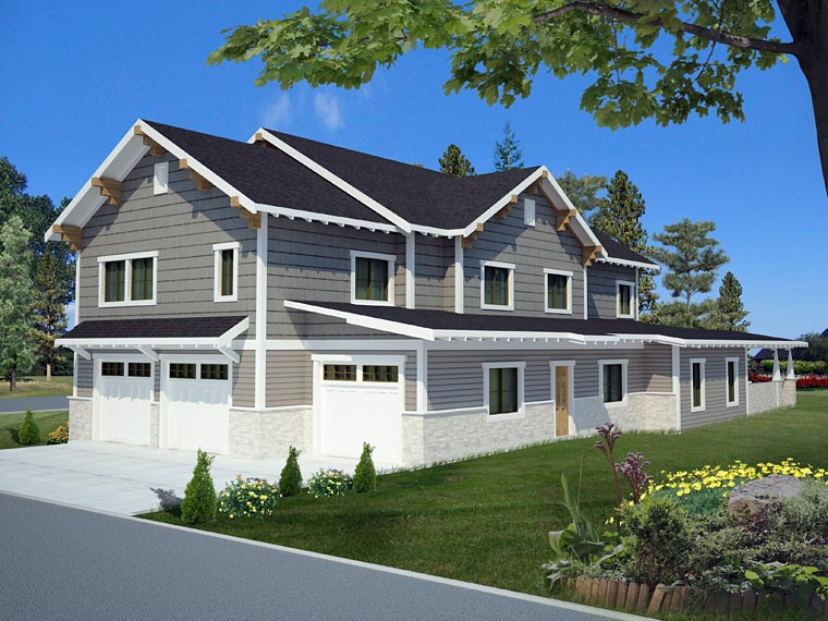 Bungalow Country Craftsman Traditional House Plan 85238 Rear Elevation