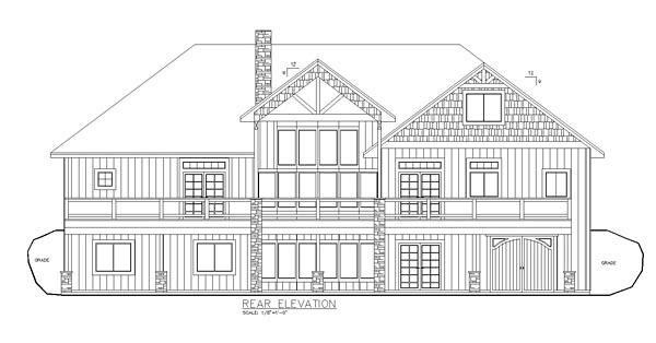 Craftsman Traditional Tudor House Plan 85239 Rear Elevation
