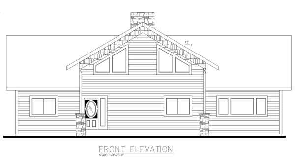 Contemporary Country Craftsman Rear Elevation of Plan 85243