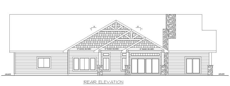 Contemporary Craftsman Tudor House Plan 85247 Rear Elevation