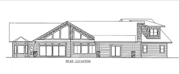 Contemporary Craftsman Traditional House Plan 85254 Rear Elevation