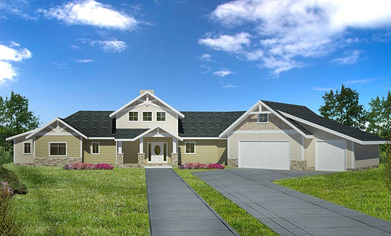 Contemporary Craftsman Tudor House Plan 85255 Elevation