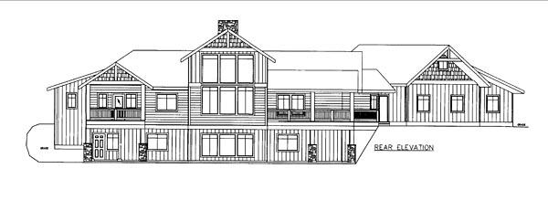 Contemporary Craftsman Tudor House Plan 85255 Rear Elevation