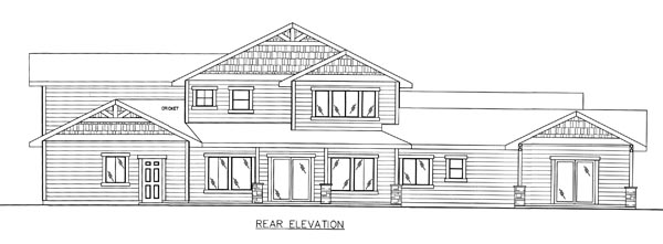 Bungalow Craftsman Traditional House Plan 85261 Rear Elevation