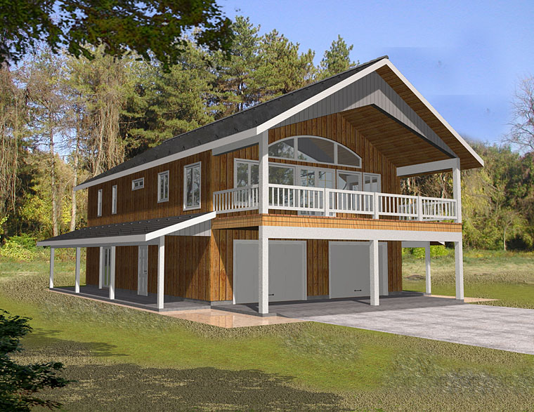 Contemporary , Traditional 2 Car Garage Apartment Plan 85263 with 2 Beds, 2 Baths Elevation