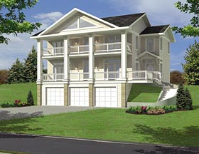 House Plan 85271 | Colonial, Traditional Style House Plan with 2170 Sq Ft, 3 Bed, 3 Bath, 3 Car Garage Elevation
