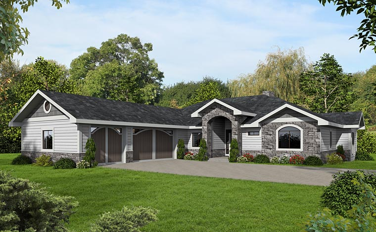Contemporary , Craftsman , European House Plan 85280 with 2 Beds, 3 Baths, 3 Car Garage Elevation