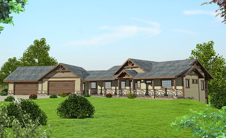 Country Craftsman Ranch House Plan 85281 Elevation