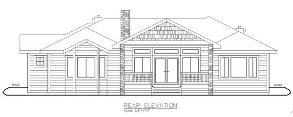 European , Craftsman House Plan 85286 with 2 Beds, 3 Baths, 3 Car Garage Rear Elevation