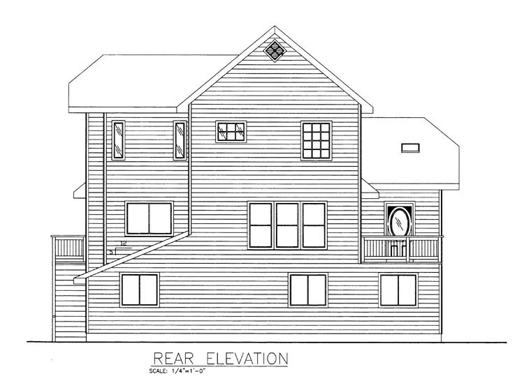 Coastal House Plan 85308 Rear Elevation
