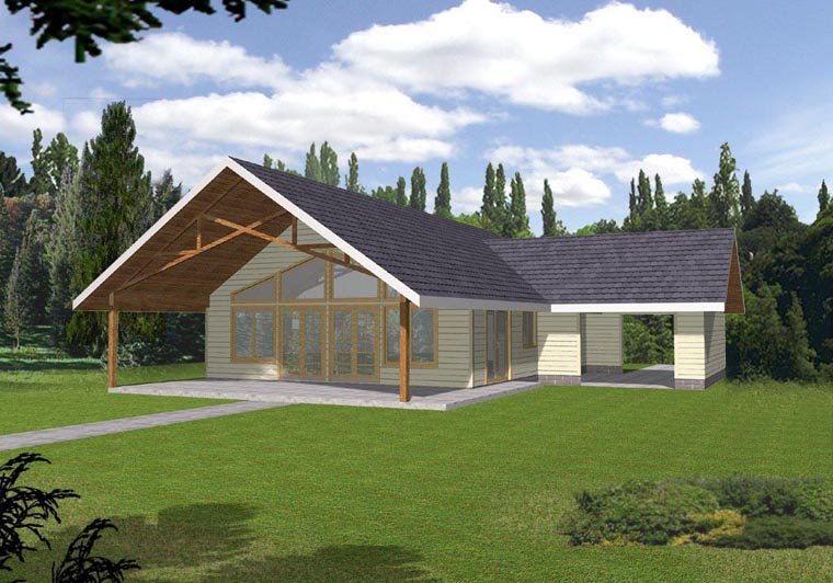 House Plan 85312 | Style Plan with 1120 Sq Ft, 1 Bedrooms, 1 Bathrooms, 1 Car Garage Elevation