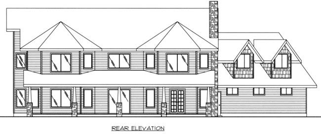Country House Plan 85320 with 4 Beds, 4 Baths, 3 Car Garage Rear Elevation