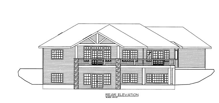 Craftsman House Plan 85326 with 3 Beds, 3 Baths, 3 Car Garage Rear Elevation