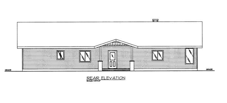 House Plan 85329 with 3 Beds , 2 Baths Rear Elevation
