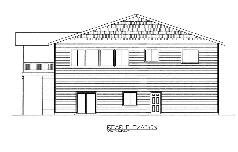 3 Car Garage Apartment Plan 85330 with 3 Beds, 2 Baths Rear Elevation