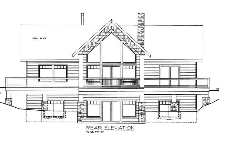 House Plan 85331 with 2 Beds, 3 Baths Rear Elevation