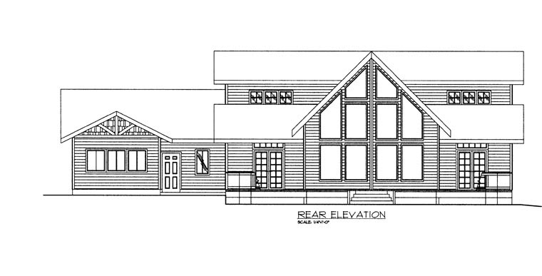 House Plan 85334 with 3 Beds, 3 Baths, 2 Car Garage Rear Elevation