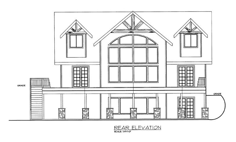 House Plan 85339 | Style Plan with 2307 Sq Ft, 3 Bedrooms, 3 Bathrooms, 3 Car Garage Rear Elevation
