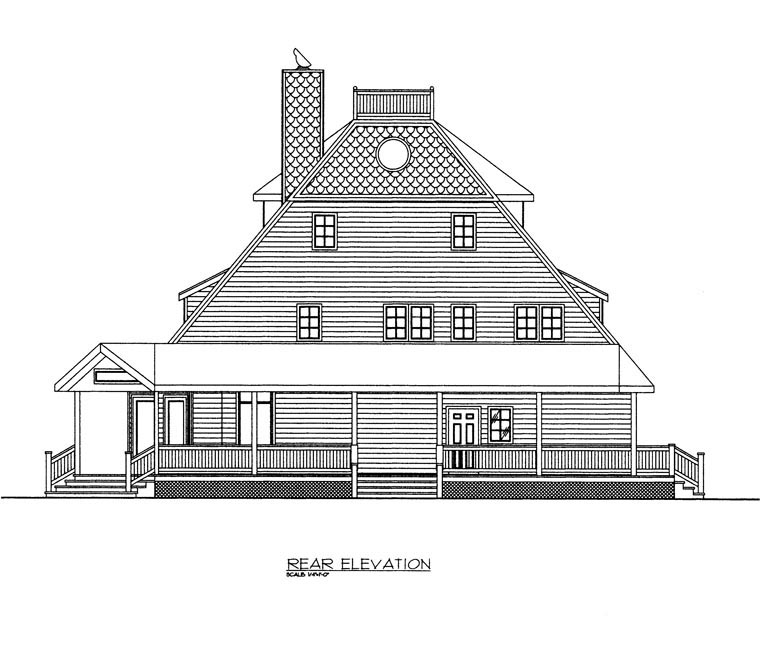 Craftsman House Plan 85356 with 2 Beds, 3 Baths Rear Elevation