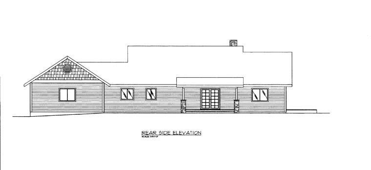 House Plan 85363 | Style Plan with 2037 Sq Ft, 1 Bedrooms, 2 Bathrooms, 2 Car Garage Rear Elevation