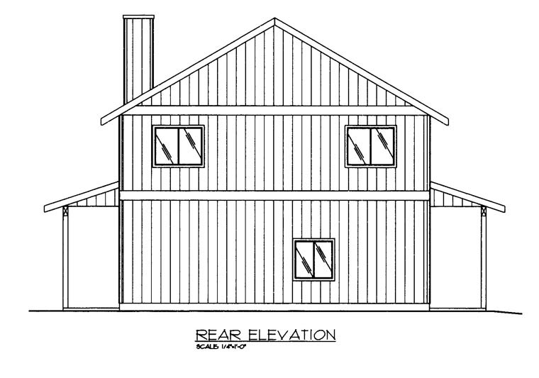 Rear Elevation of Plan 85372