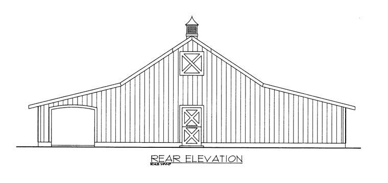 Rear Elevation of Plan 85374