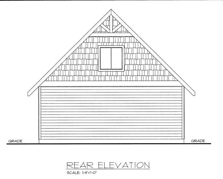 Garage Plan 85375 | Style Plan, 2 Car Garage Rear Elevation