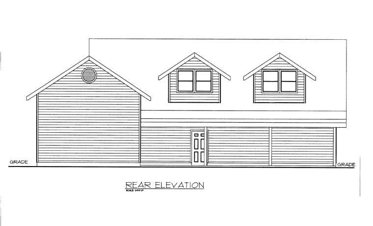 Rear Elevation of Plan 85381